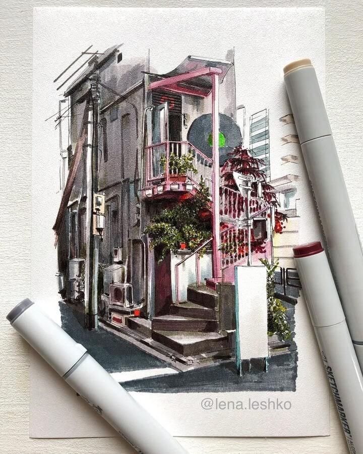 13-Pink-staircase-Lena-Leshko-www-designstack-co
