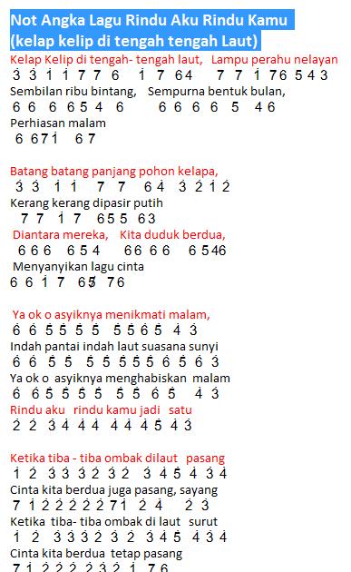 Chord Rindu Aku Rindu Kamu : chord, rindu, Angka, Rindu, (Kelap, Kelip, Ditengah2, Laut), Sumbang, Dunia, Lirik