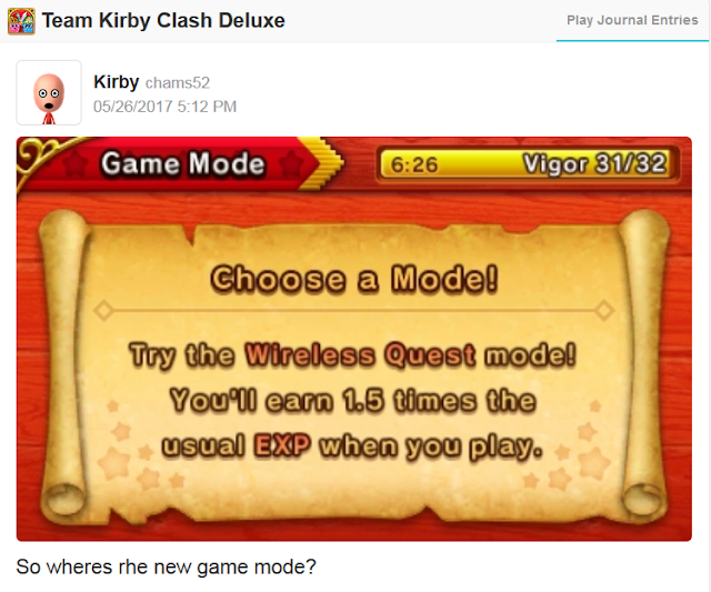 Team Kirby Clash Deluxe Miiverse community looking for new game mode