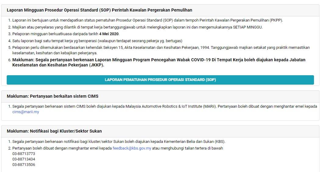 Simiey Dot Info Laporan Mingguan Program Pencegahan Wabak Covid 19 Di Tempat Kerja