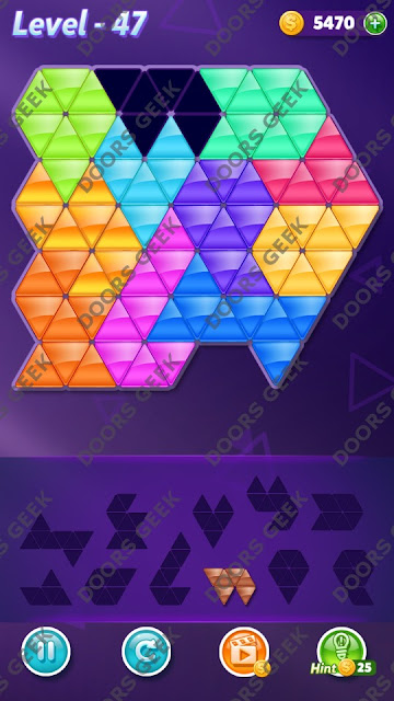 Block! Triangle Puzzle Challenger Level 47 Solution, Cheats, Walkthrough for Android, iPhone, iPad and iPod
