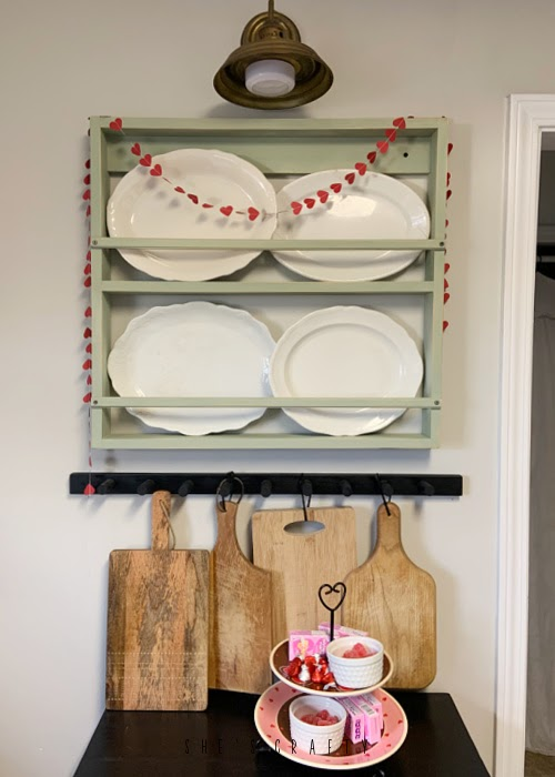 Paper Heart banner placed around dish rack