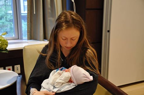 Chelsea Clinton with new son Aidan