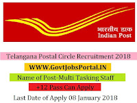 Telangana Postal Circle Recruitment 2018 – 18 Multi Tasking Staff