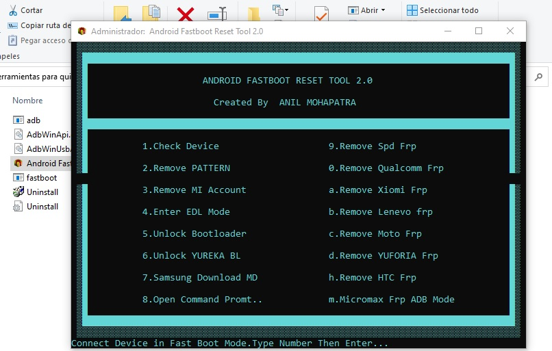herramienta Android Fastbooot Reset Tool