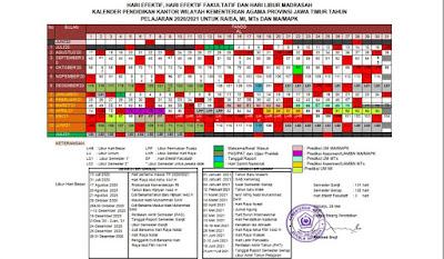 Kalender Pendidikan Madrasah Tahun Pelajaran 2020/2021 Jawa Timur Format Exel