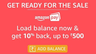 Amazon Pay Balance Offer Sep.-Load Rs.500 or more Amazon Pay balance and 10% back, up to Rs.500