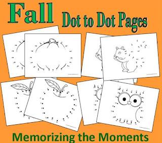 Free printable Fall Dot to Dot Pages