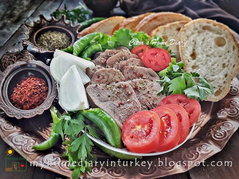 Turkish Food Recipe ; Dil Söğüş / Boiled  Sliced beef (ox) tongue | Çitra's Home diary. #cookingwithoffal #beeftonguerecipe #turkishfoodrecipe#dilsöğüş #söğüş #easyrecipe #resepmasakanturki #howtocooktongue