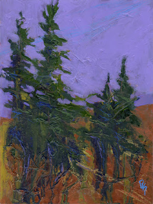 art abstract trees evergreen pine painting