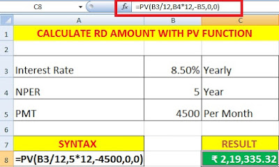 Calculate Present Value of Investment and EMI in Excel Using PV Function