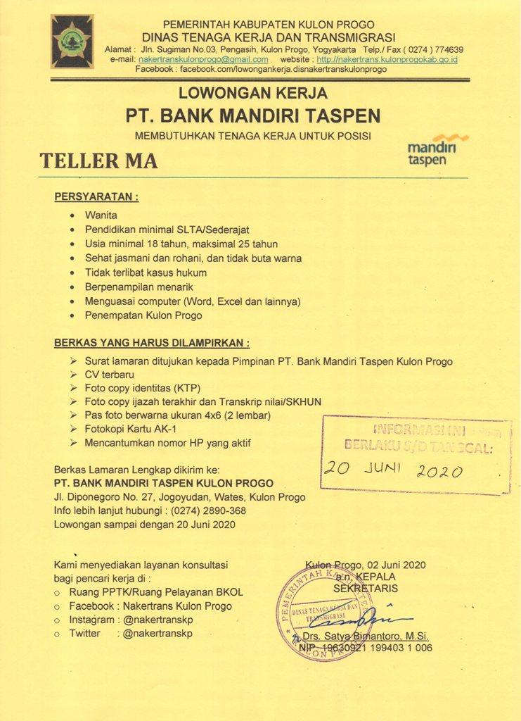 Lowongan Kerja Lulusan Sma Smk Pt Bank Mandiri Taspen Kulon Progo Deadline 20 Juni 2020
