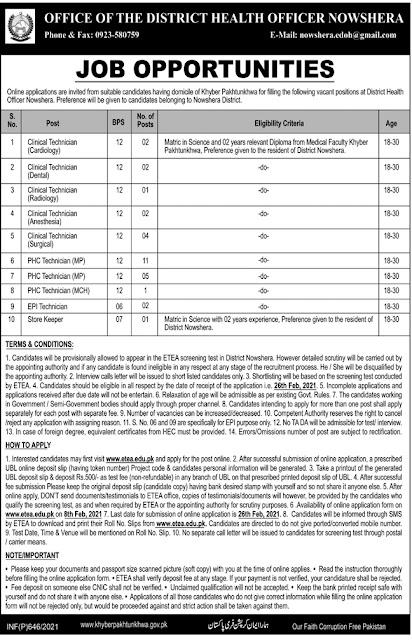 Latest Jobs in Pakistan District Health Department Nowshera 2021
