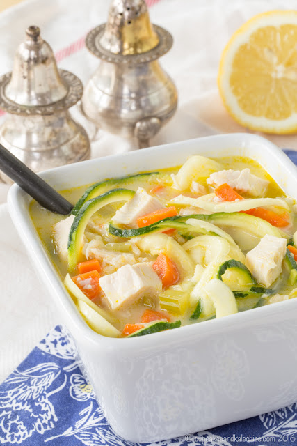Avgolemono Greek Chicken Zoodle Soup