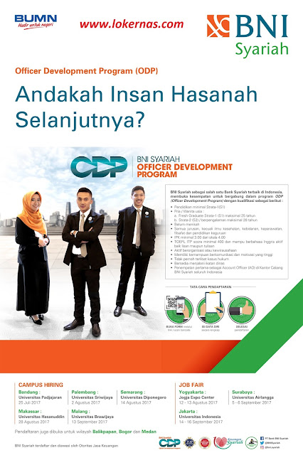 Lowongan Kerja BNI Syariah Officer Development Program (ODP) Dan Jadwal Kegiatan Campus Hiring / Job Fair Tahun 2017