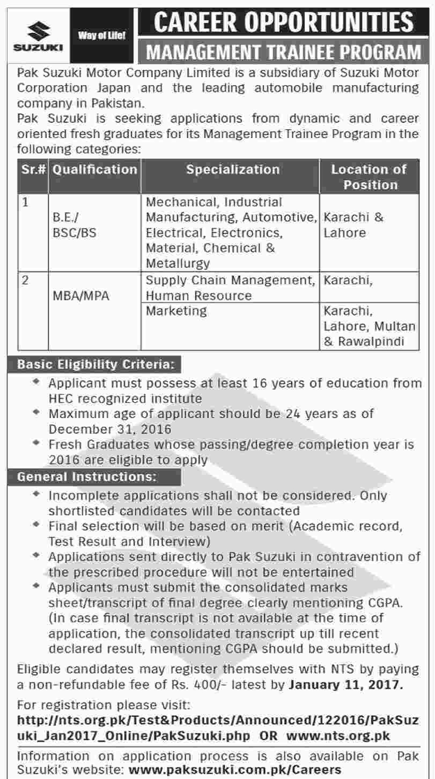 Pak Suzuki Motor Company Limited New Jobs