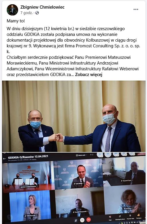 Jest umowa w sprawie obwodnicy Kolbuszowej