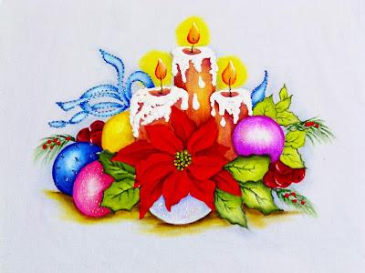 pintura de natal com velas, bolas e bico de papagaio