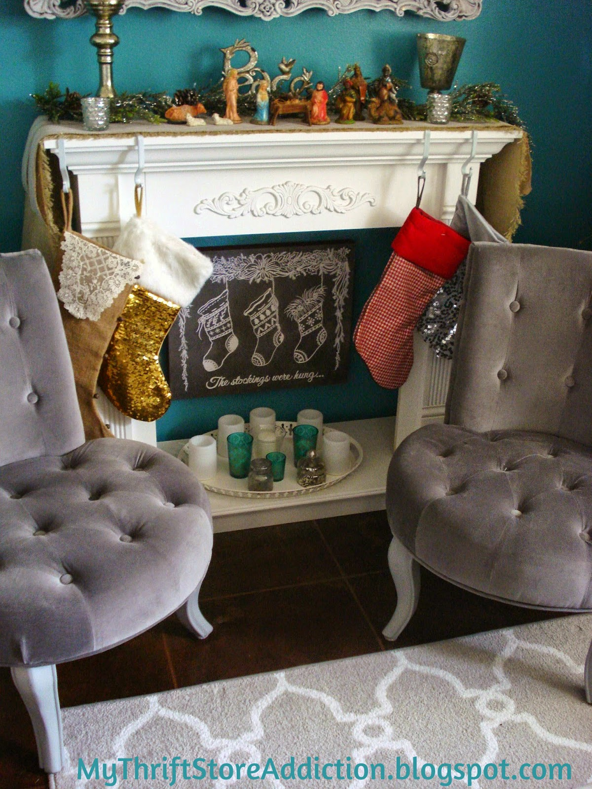 Faux fireplace and mantel