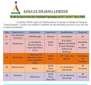 ITI, Diploma, 1oth Pass, Any Graduate Job Vacancy in Kekule Pharma Limited Walk In Interviews for Multiple Openings