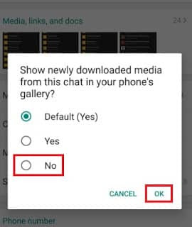 WhatsApp Tricks-Stop Media Visibility- tap on no and ok