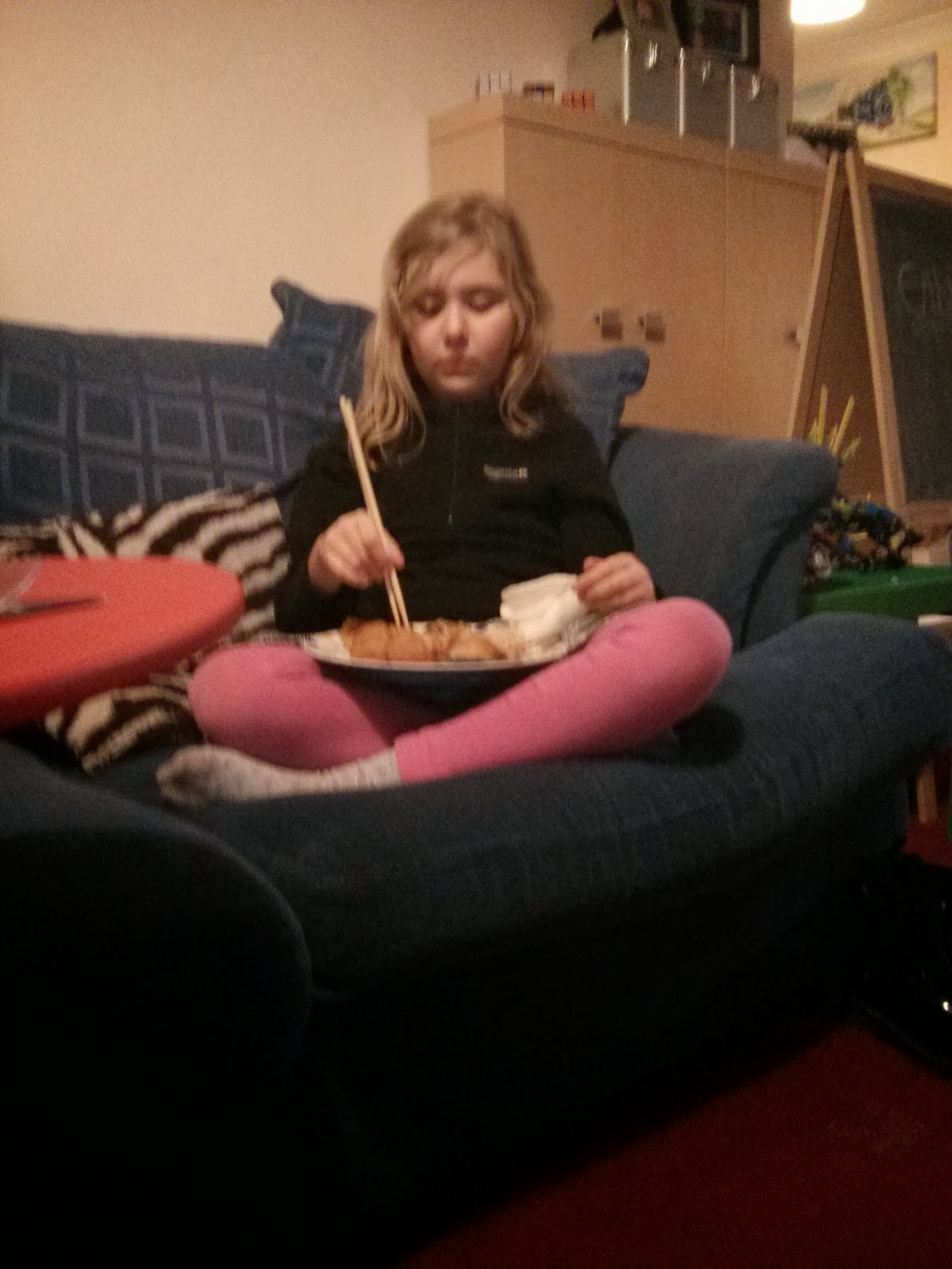 Top Ender eating her Chinese with Chopsticks