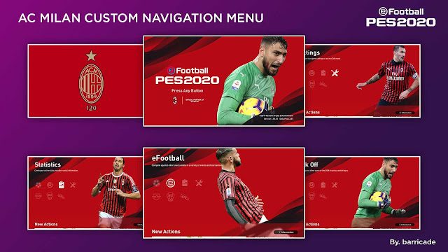 PES 2020 AC Milan Custom Navigation Menu by barricade