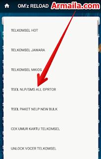 Klik tampilkan semua dan pilih TSEL NLP SMS ALL OPRTOR