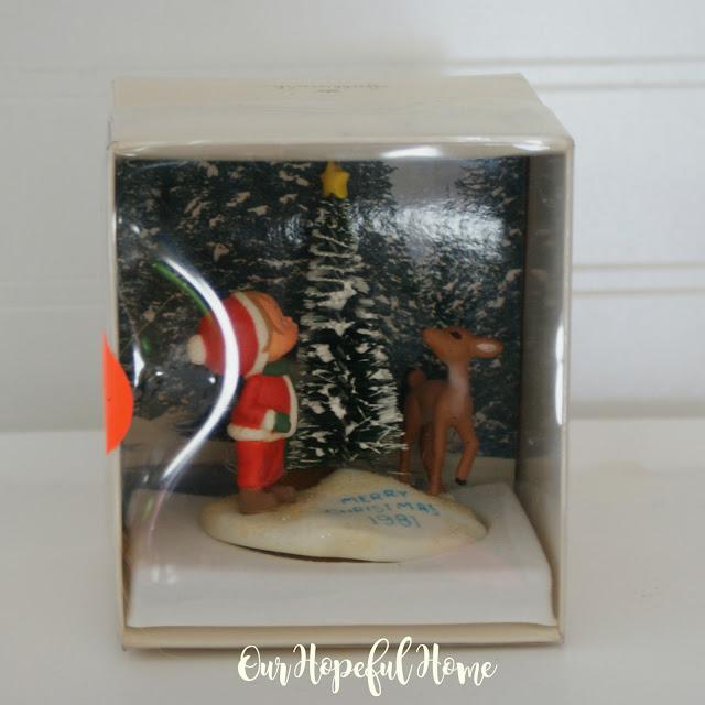 1981 Betsey Clark Christmas ornament boy tree deer