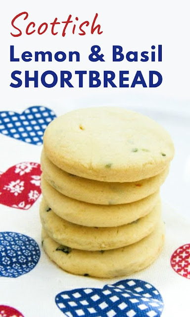 An easy recipe for a light and crumbly Scottish shortbread flavoured with lemon and basil. Suitable for dairy-free and vegan diets. These cookies make a fabulous edible Christmas gift. #lemonshortbread #christmasshortbread #shortbreacookies #veganshortbread #vegancookies #veganbiscuits #dairyfreeshortbread #dairyfreecookies #christmas #christmascookies