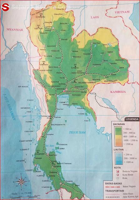 Peta dataran dan perairan sanggup anda lihat pada kotak LEGENDA berupa angka yang tertera Peta Negara Thailand 2019