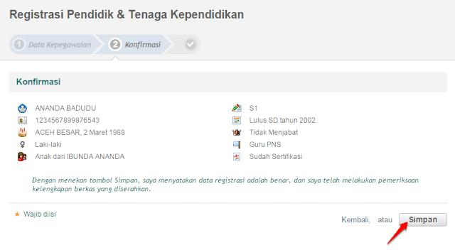 konfirmasi registrasi PTK baru
