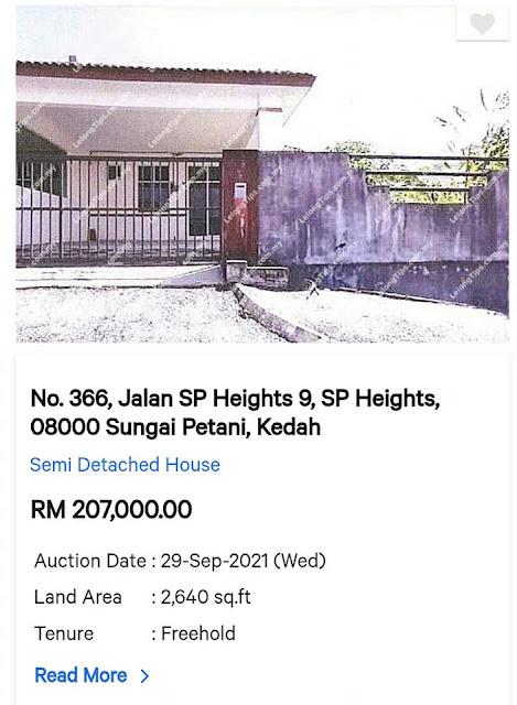 Dikawasan yang sama juga ada Rumah Semi D harga RM207 ribu