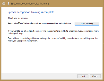 speech recognition training completed