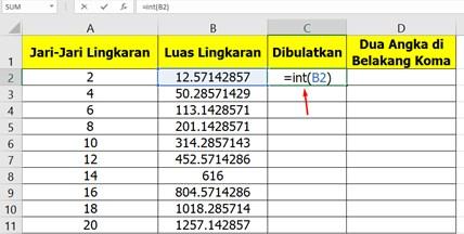 Cara Membulatkan Bilangan di Excel menggunakan Rumus Int