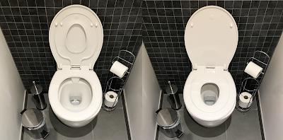 deux photo des wc avec le réducteur de cuvette