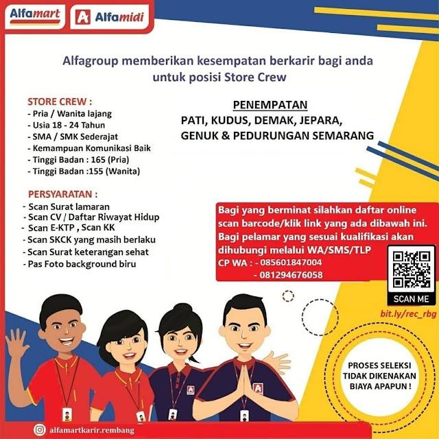 Lowongan Kerja Store Crew Alfamart Rembang Penempatan Pati Kudus Demak Jepara Genuk Pedurungan Semarang