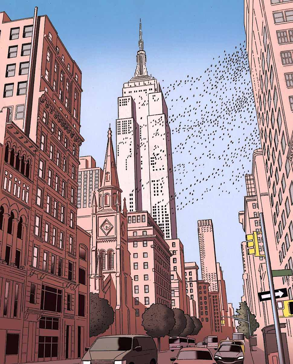 Guy Billout, an urban scene with flyng birds