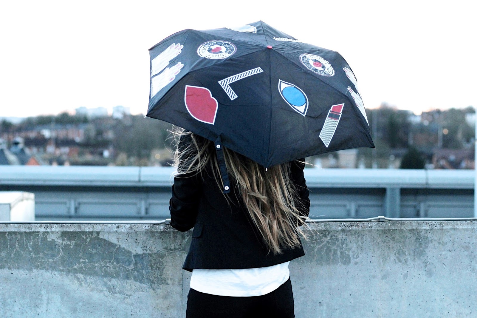Fulton Lulu Guinness Superslim 2 Stickers Umbrella