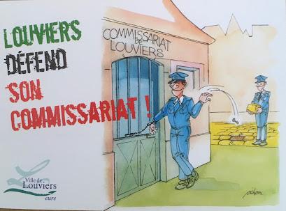 S'il n'y avait qu'un élément rappelant l'action de la municipalité de Franck Martin pour garder le commissariat à Louviers, ce serait celui-ci, une carte postale dessinée par l'humoriste Pichou, habitué du festival du dessin d'humour et de presse