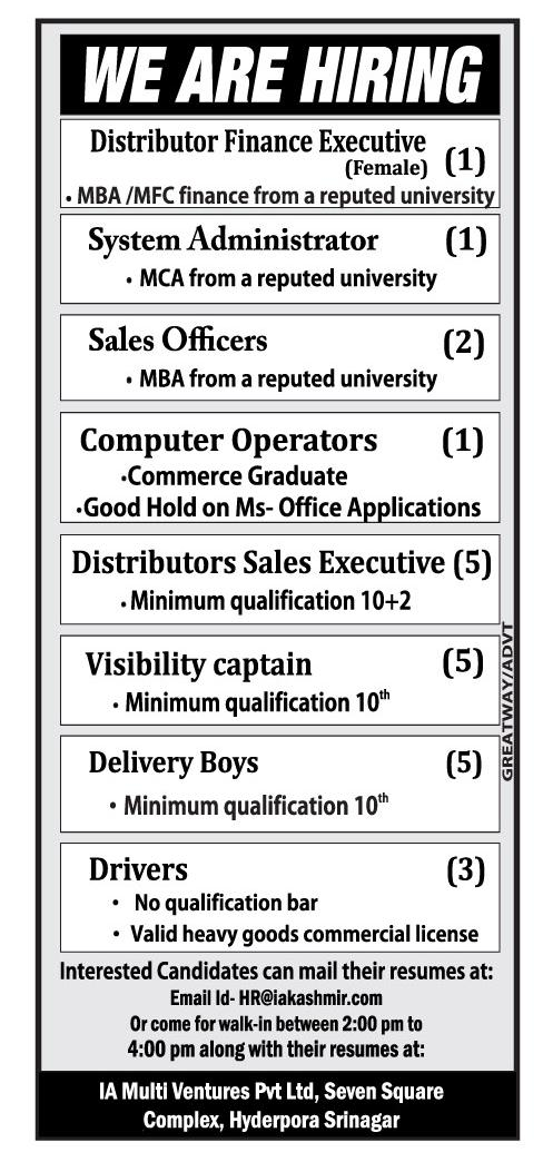 Computer operators sales officer drivers delivery boys