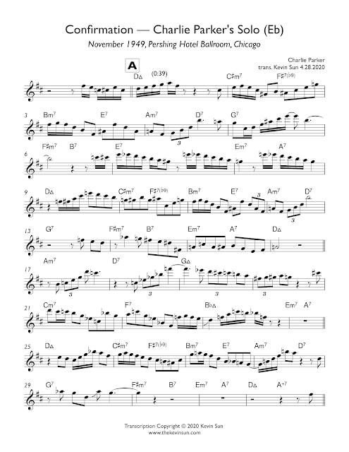 "Charlie Parker Solo Transcription ""Confirmation"" (Pershing Hotel 1949) Page 1"