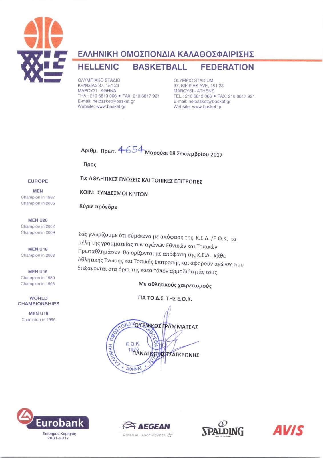 Επίσημο έγγραφο της ΕΟΚ για τους κριτές Εθνικών Κατηγοριών