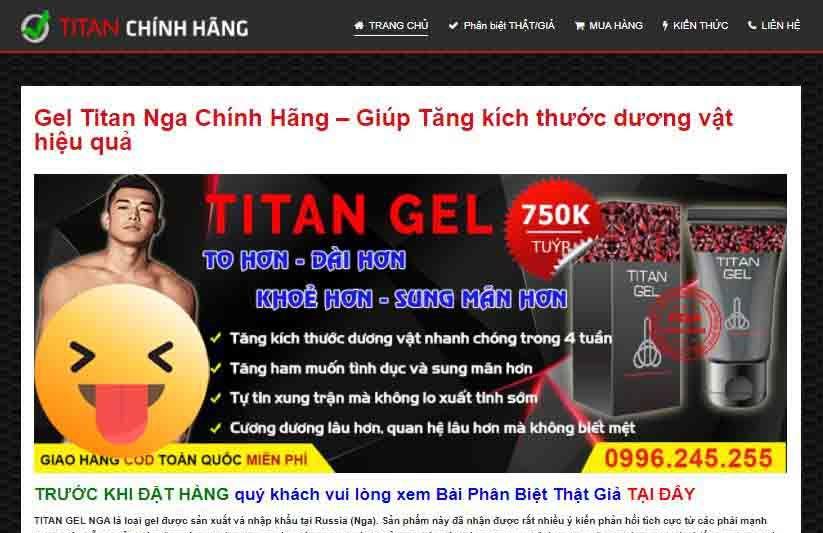 Landing page blogspot bán hàng Tital Gel