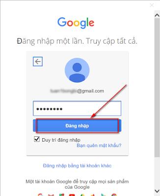 Nhập mật khẩu của Gmail