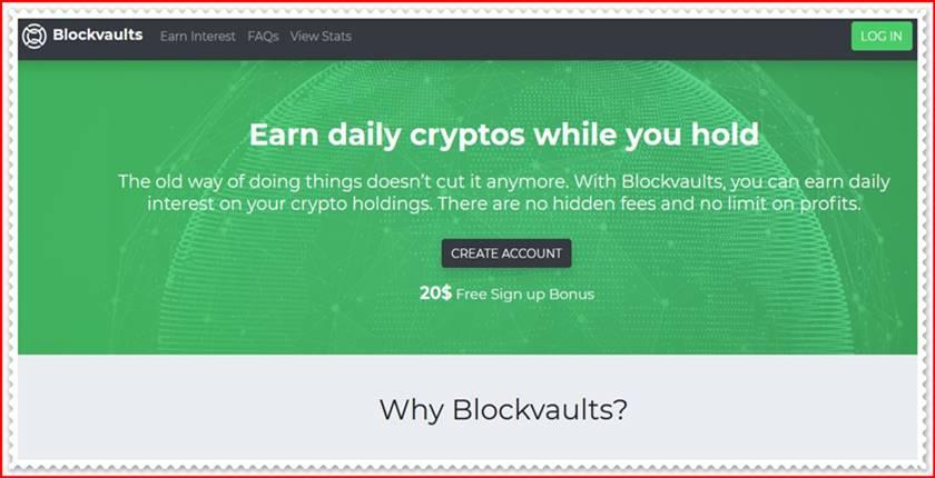 Мошеннический сайт blockvaults.io – Отзывы, развод, платит или лохотрон? Мошенники