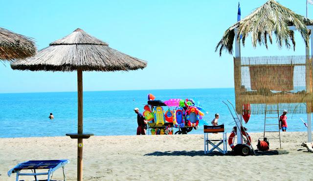 lido, spiaggia, sabbia, ombrelloni, mare, acqua, cielo