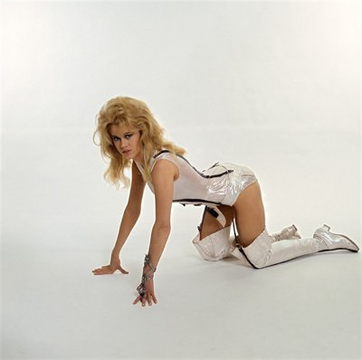 Jane Fonda on hands and knees in Barbarella 1968