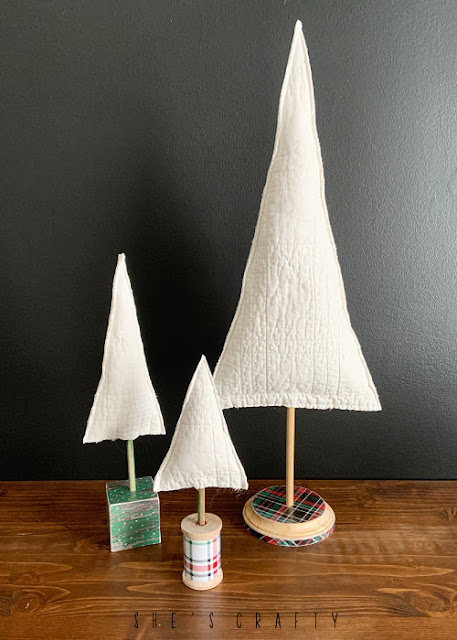 Fabric Christmas Tree on a wooden dowel