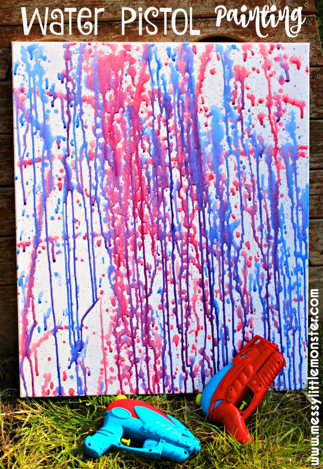Water pistol painting (squirt gun painting) is a fun outdoor art activity for kids. Water gun painting is a cool Summer art idea that works on fine motor skills for preschoolers and an easy painting technique for kids of all ages!